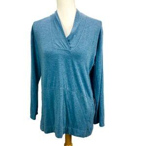 J Jill Pure Tunic Top Blue Kangaroo Pouch Pocket